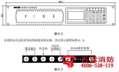 接控制器:与火灾报警控制器相连接系统外部接线:   通话输出:消防电话